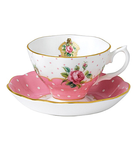 ROYAL ALBERT Cheeky Pink teacup and saucer set