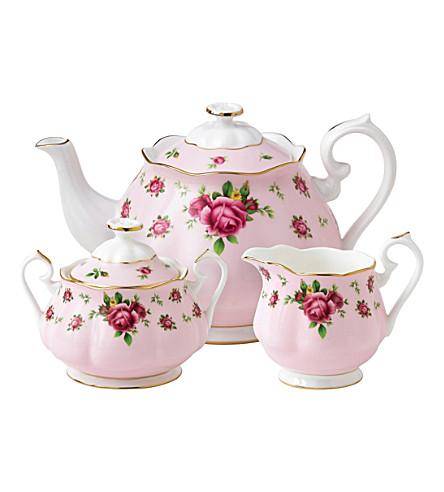 ROYAL ALBERT 新的国家玫瑰三件茶叶套