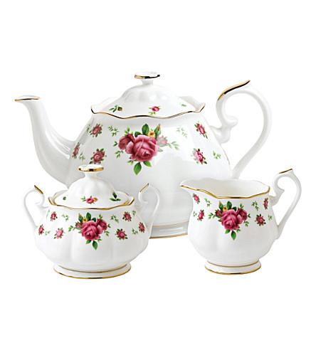 ROYAL ALBERT 新乡村玫瑰三件茶叶套装