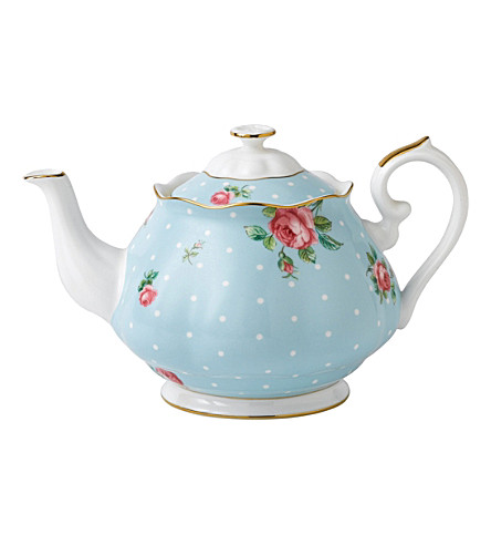 ROYAL ALBERT Polka Blue Vintage china teapot