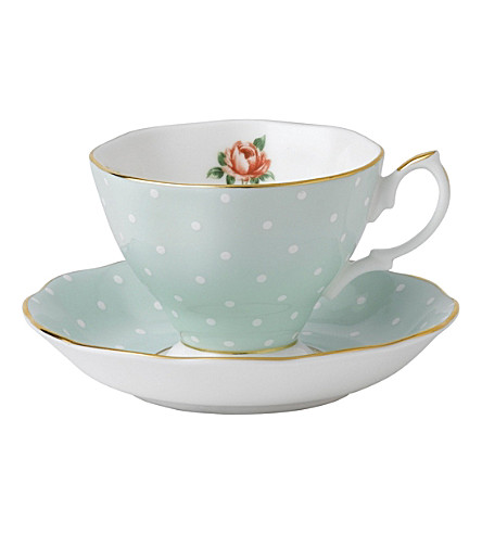 ROYAL ALBERT Polka Rose Vintage teacup and saucer