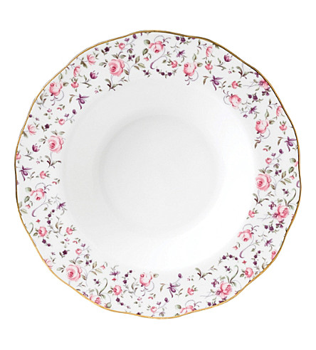 ROYAL ALBERT Rose Confetti Vintage Rim soup plate 24cm