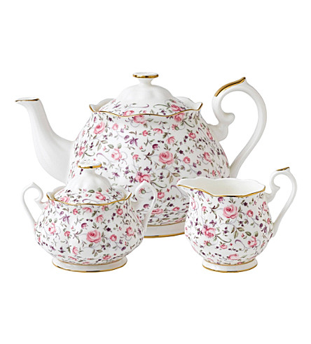 ROYAL ALBERT Rose Confetti three-piece tea set