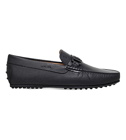 TODS City buckle caviar leather driving shoes