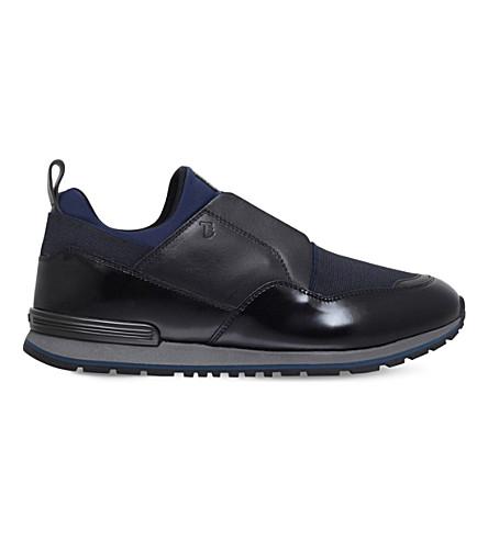 TODS 氯丁橡胶和皮革运动鞋 (黑色/梳子