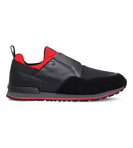 TODS Neoprene and leather running trainers (Blk/red