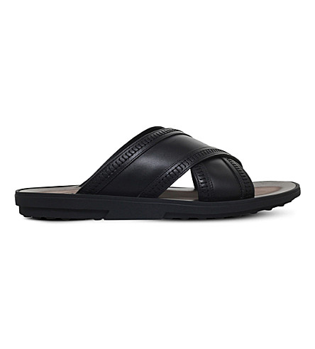 TODS Cross leather sandals (Black
