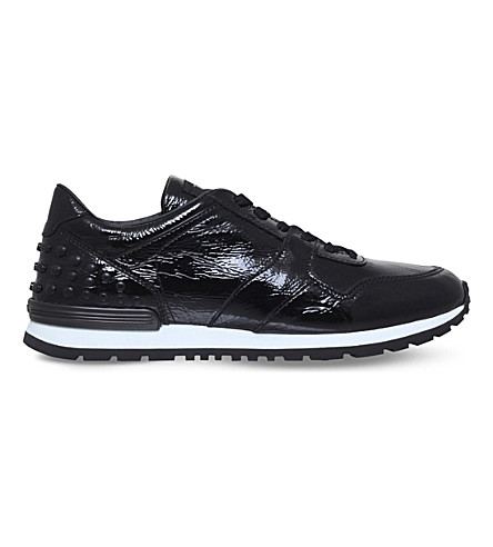 TODS Pebbled patent-leather trainers (Black