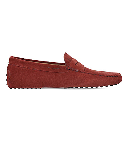TODS Penny suede driver shoes (Wine
