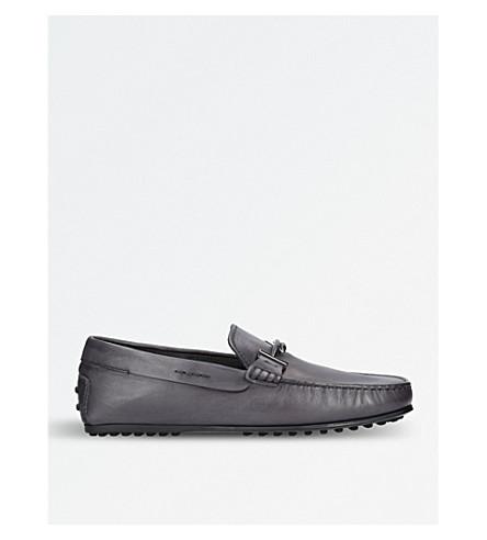 TODS 城市皮革驾驶的鞋子 (灰色