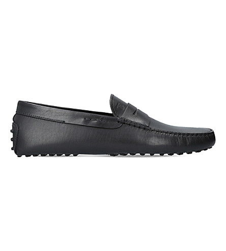 TODS Penny slip-on leather driver shoes (Black