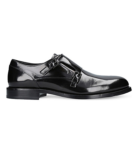 TODS Double monk strap patent leather shoes (Black