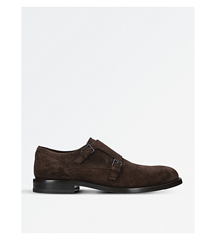 TODS LS Double suede monk shoes (Dark+brown