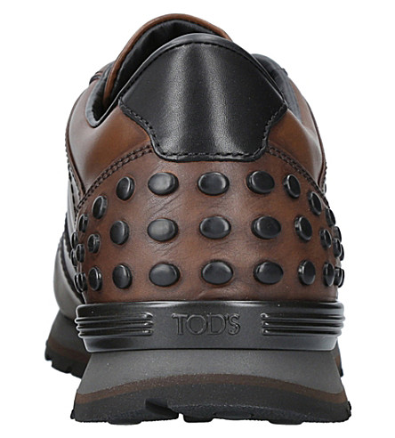 TOD'S Dots Leather Trainers in Brown