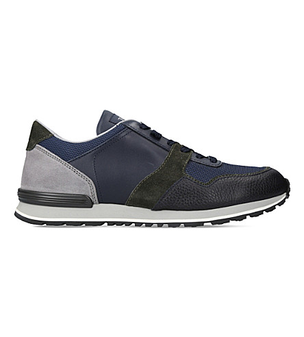 TODS Spoiler mix leather trainers (Blue+other