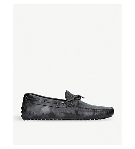 TODS Gommino Driving camouflage-print shoes (Grey/d.cmb