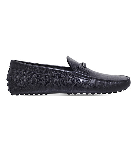 TODS Covered Double T leather driving shoes (Black