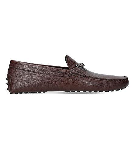 TODS Covered Double T leather driving shoes (Brown