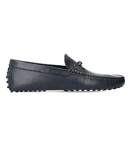 TODS Covered Double T leather driving shoes (Navy