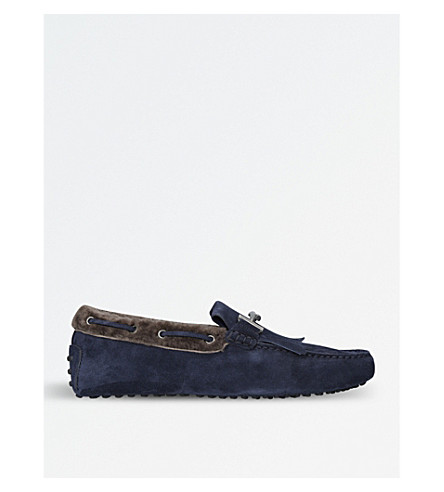 TODS Shearling and suede driving shoes (Blue+other