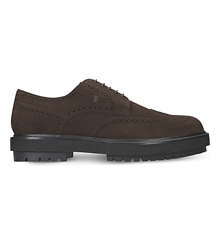 TODS Wingtip suede Derby shoes (Brown