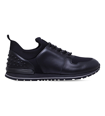 TODS Scuba runner leather and neoprene trainers (Black