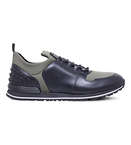 TODS Scuba runner leather and neoprene trainers (Green+comb