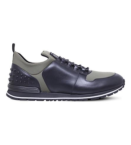 TODS 水肺赛跑者皮革和氯丁橡胶运动鞋 (绿色 + 梳子
