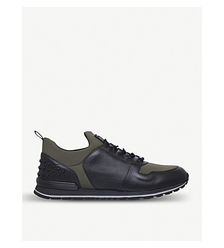 TODS Scuba runner leather and neoprene trainers (Green+oth