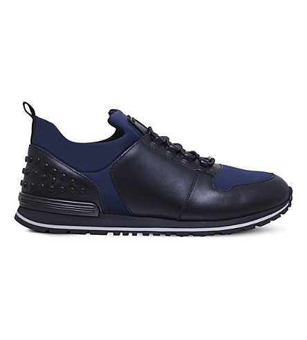 TODS Scuba runner leather and neoprene trainers (Blue/drk.c