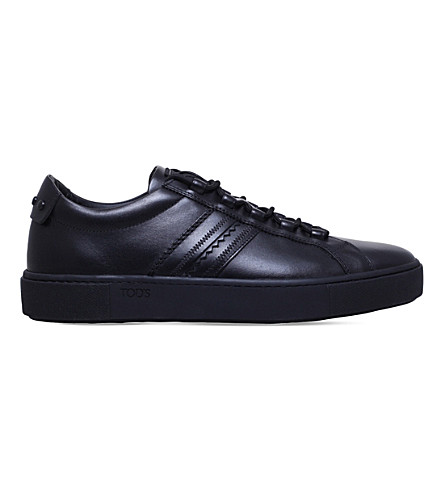 TODS Cassetta trim leather trainers (Black