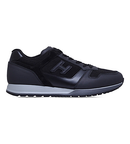 HOGAN H321 leather and mesh trainers (Black