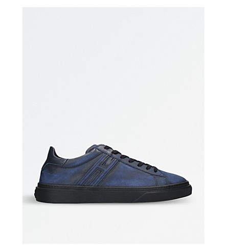 HOGAN H340 washed leather trainers (Navy