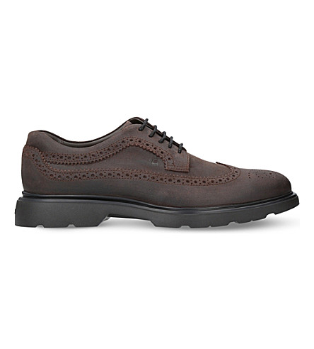 HOGAN H304 New Route suede Derby shoes (Brown