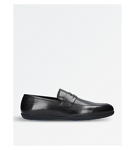 HARRYS LONDON Downing leather loafers (Blk/blue