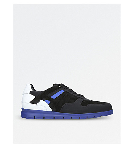 HARRYS LONDON Galaxy leather and suede trainers (Blk/other