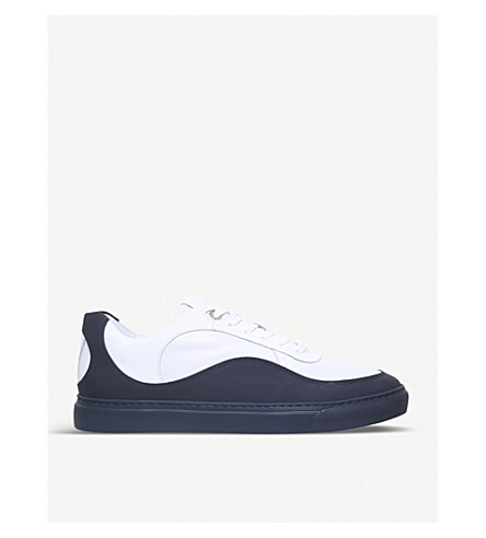 HARRYS LONDON Wave two-tone leather trainers (White/navy