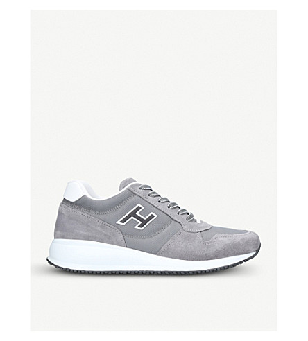 HOGAN Interative N20 suede and mesh trainers (Grey