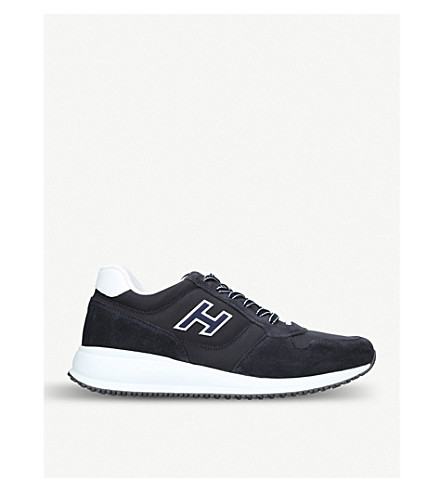 HOGAN Interactive N20 suede and mesh trainers (Navy
