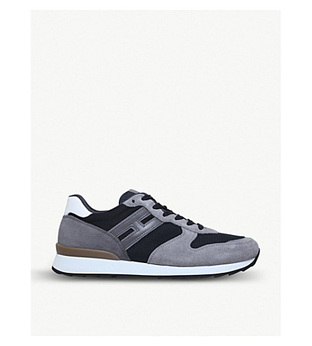 HOGAN Low-top suede and mesh trainers (Grey/d.cmb