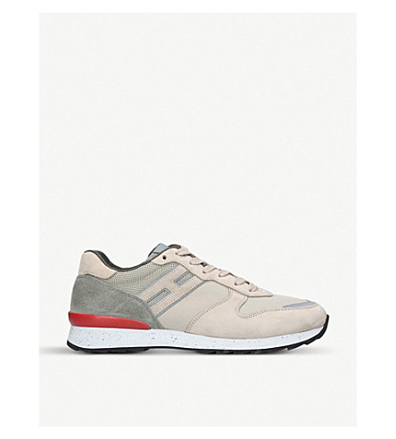 HOGAN Speckled suede and mesh trainers (Beige