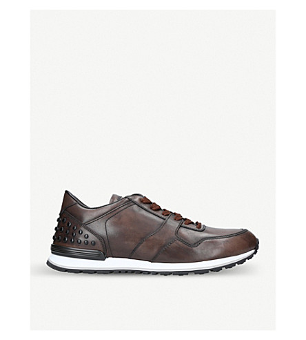 TODS Dots leather trainers (Brown