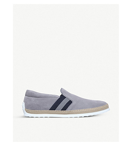 TODS Rafia stripe suede skate shoes (Grey/other