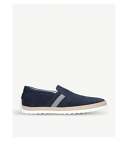 TODS Gomma rafia suede skate shoes (Blue+other