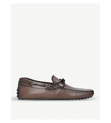TODS Scooby Doo leather driving shoes (Dark+brown