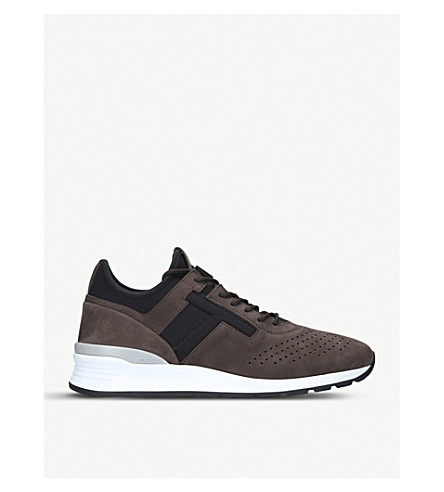 TODS Neoprene and leather hi-top running trainers (Brown/oth