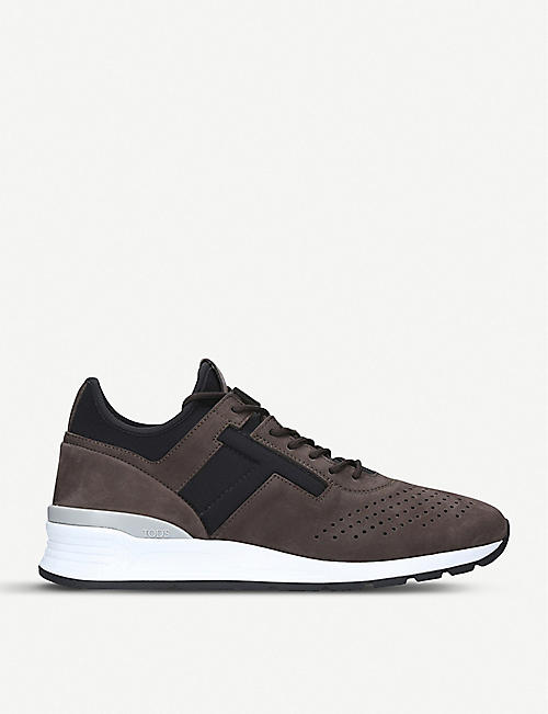 TODS Neoprene and leather running trainers Black - X7253
