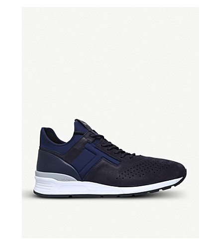 TODS Neoprene and leather hi-top running trainers (Navy