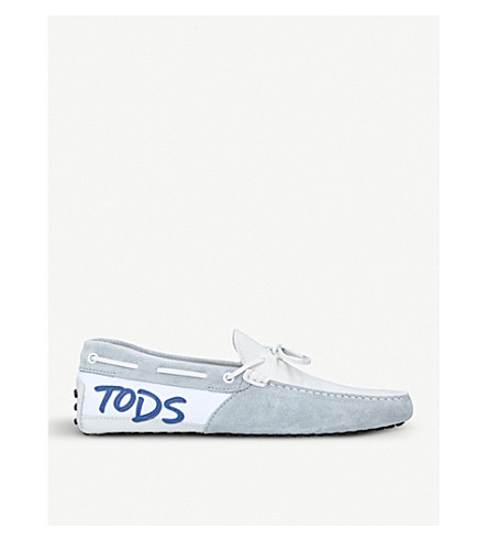 TODS Logo Mix suede driving shoes (White