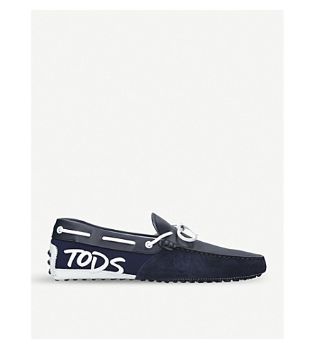 TODS Mixed leather driver shoes (Navy